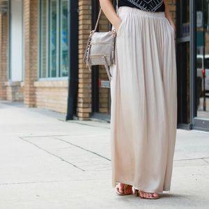 H&M blush silky pleated maxi skirt